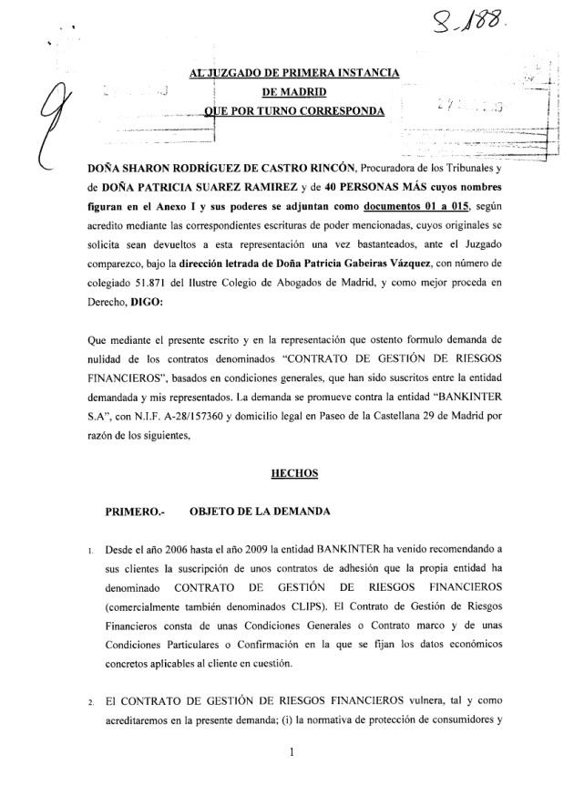 Copia Sellada de la Demanda CLIPS contra Bankinter