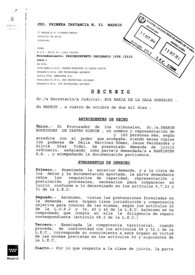 Decreto admisión trámite demanda contra Bankinter por intercambios (04/10/10)