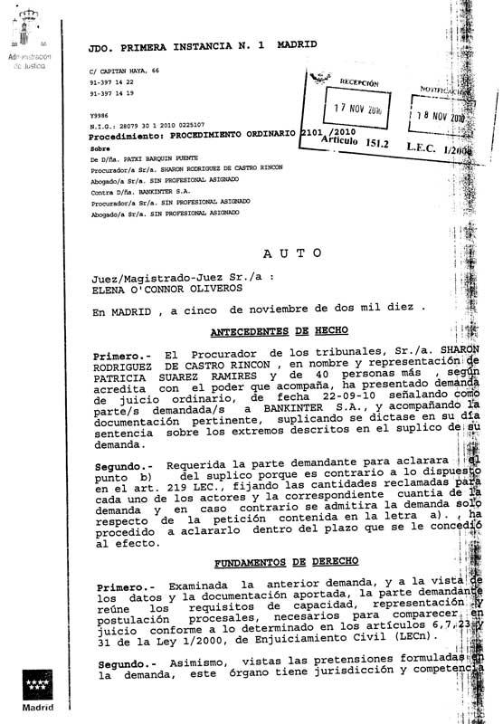Auto Admitiendo a trámite la demanda por CLIPS. 05/11/2010.