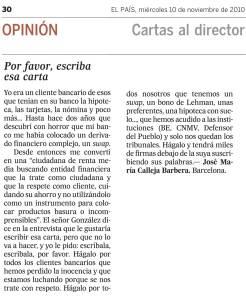 EL PAIS 10.11.10, Cartas al Director sobre la entrevista a Felipe González.