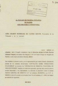 26/11/2010. Copia sellada de la demanda contra Banesto por Permutas Financieras.
