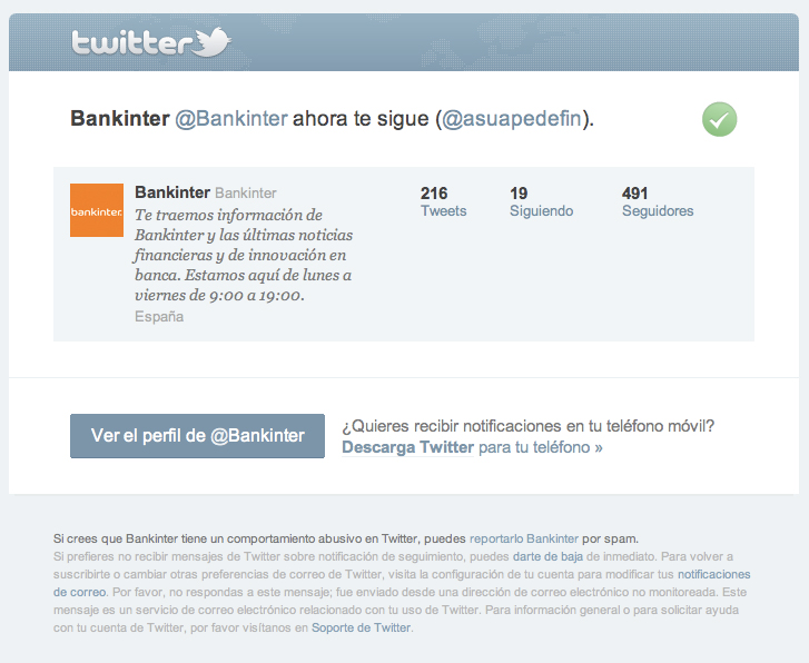 Bankinter sigue en Twitter a Asuapedefin